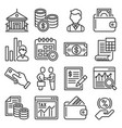 bank business and finance icons set vector image vector image
