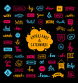 big collection hand-drawn colored words vector image