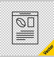 black line newspaper and coffee icon isolated on vector image vector image
