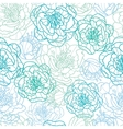 Blue line art flowers seamless pattern background vector image vector image