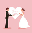 bride and groom holding heart wedding card vector image