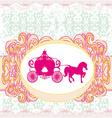 carriage- vintage floral wedding invitation vector image vector image