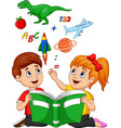 cartoon kids reading book education concept vector image vector image