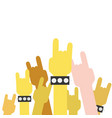 colorful hands up with rock gesture symbol vector image