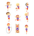 cute happy boys doing sports set activity kids vector image vector image