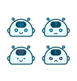 cute robot chat bot face emotion character vector image vector image