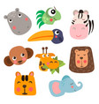 cute safari animal faces in flat style isolated vector image