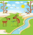 deers happy for spring thaw in forest vector image vector image