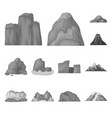 different mountains monochrome icons in set vector image