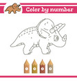 dinosaurs color numbers coloring page for vector image vector image