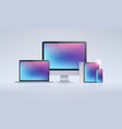 electronic devices mockup set laptop monitor vector image vector image