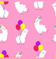 funny cartoon pattern with cute llamas vector image vector image