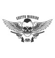 ghetto warrior winged skull with guns design vector image