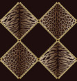 golden chains seamless pattern with leopard and vector image
