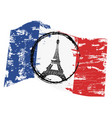 grungy french flag with paris tower symbol vector image