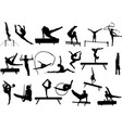 gymnastics silhouettes collection vector image vector image