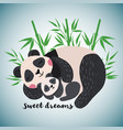 hand drawn card with cute sleeping pandas vector image