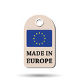 hang tag made in europe with flag on white vector image vector image