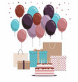 happy birthday card with cake gifts and balloons vector image vector image