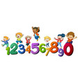 happy children and numbers one to zero vector image vector image