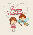 happy valentines-cupid with bow arrow and girl vector image vector image