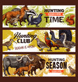 hunting sport banners animals and birds vector image vector image