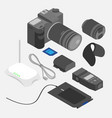 isometric devices design and photography tools vector image vector image