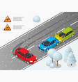 isometric winter slippery road car accident the vector image vector image