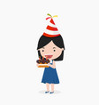 kid girl holding birthday cake vector image