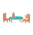 kids toy teddy bear rocket table and chairs toys vector image