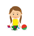 little girl sitting with toys vector image vector image