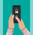 locked smartphone with padlock and fingerprint vector image vector image