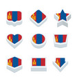mongolia flags icons and button set nine styles vector image vector image