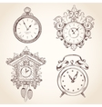 Old vintage clock set vector image vector image