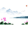 oriental landscape with lotus flowers and blue vector image vector image