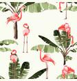pink flamingo and exotic banana tree pattern vector image vector image