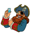pirate funny character a shot vodka vector image vector image
