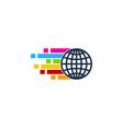 pixel art globe logo icon design vector image vector image