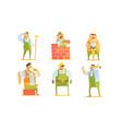 repairman cartoon characters set construction vector image vector image