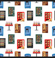 seamless pattern vending machines full of products vector image
