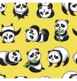seamless pattern with cartoon pandas vector image vector image