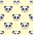 seamless pattern with cute panda faces vector image vector image