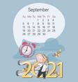 september 2021 bullish calendar autumn month vector image vector image