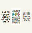 set hand drawn alphabets three english abc vector image vector image