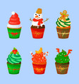 set of sweet christmas and new year cupcakes vector image