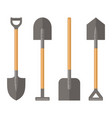 shovel set on white background vector image vector image