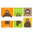 sloth greeting collection with place for text vector image