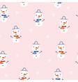 snowman seamless pattern with cute snowmen vector image