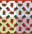 stylized bright fruits on monochromatic background vector image
