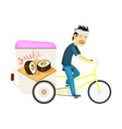sushi roll delivery icon with asian courier man vector image vector image